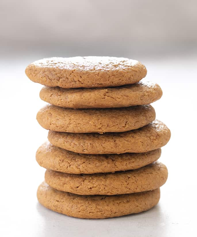 Molasses cookies in a tall stack