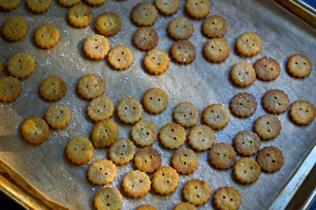 Ritz style crackers on metal pan