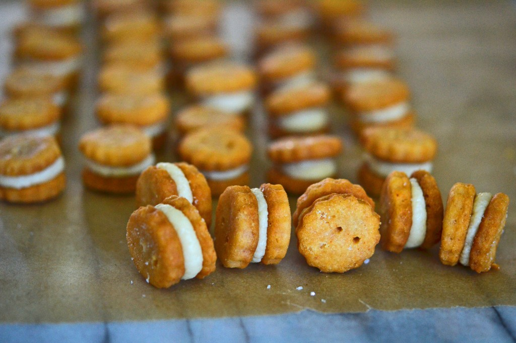 A close up of ritz style crackers