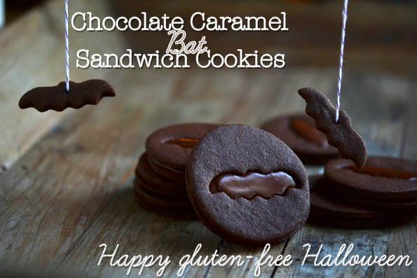 Chocolate Caramel Bat Sandwich Cookies