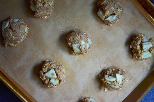 Apple breakfast cookie dough on beige surface