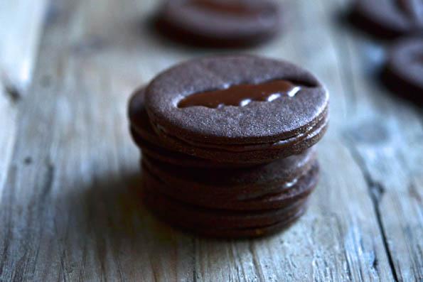 Stack of Chocolate caramel bat sandwich cookies