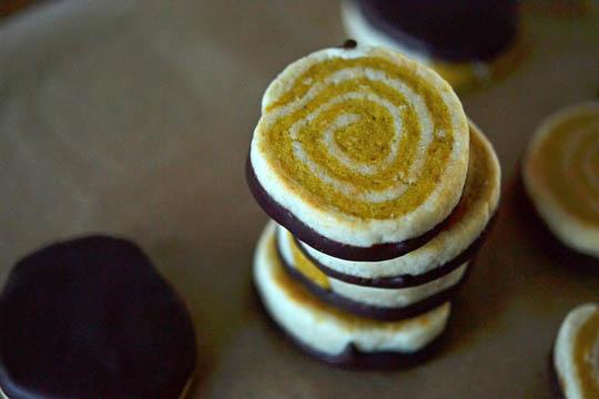 Stack of pumpkin pinwheel cookies