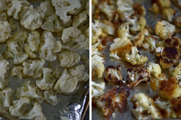 Cauliflower being roasted