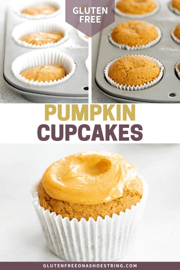 Pumpkin cupcake batter in muffin tin, baked in muffin tin, and outside the tin with pumpkin glaze