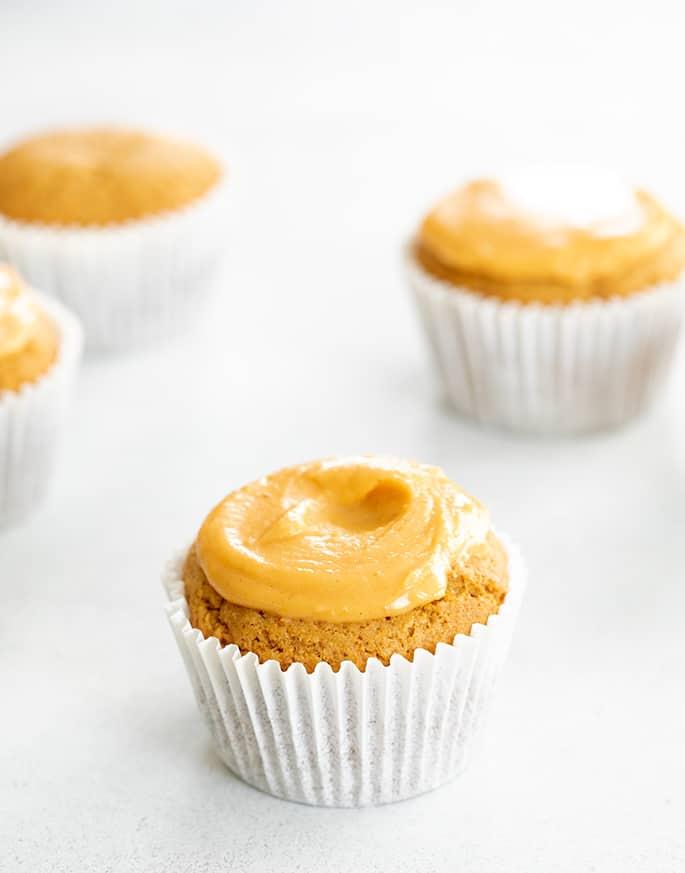 Pumpkin cupcake with pumpkin icing