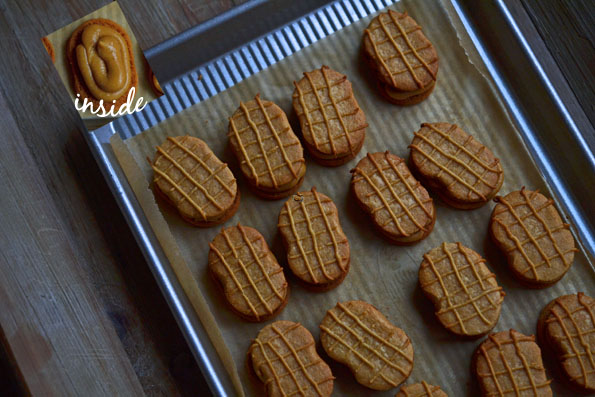 Rows of nutter butter cookies on tray