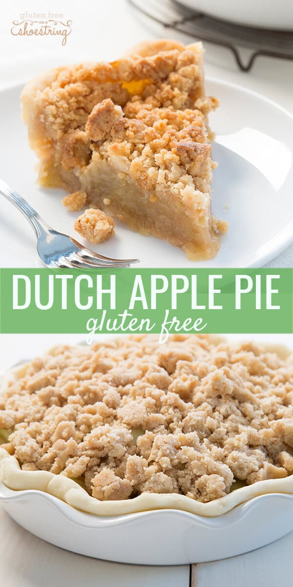 A piece of dutch apple pie on white plate and close up of the top of dutch apple pie below
