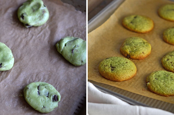 Raw and baked mint chocolate chip cookies
