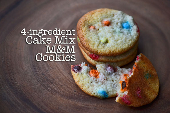 Gluten Free Chocolate Chip Cookies: with a cake mix + M&Ms