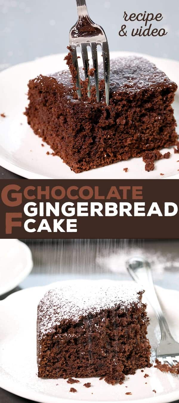 Rich chocolate and warm spices earn this moist and flavorful gluten free chocolate gingerbread cake a place of honor at your holiday table.