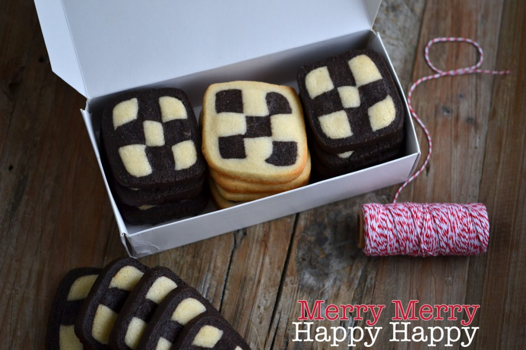 3 stacks of checkerboard cookies