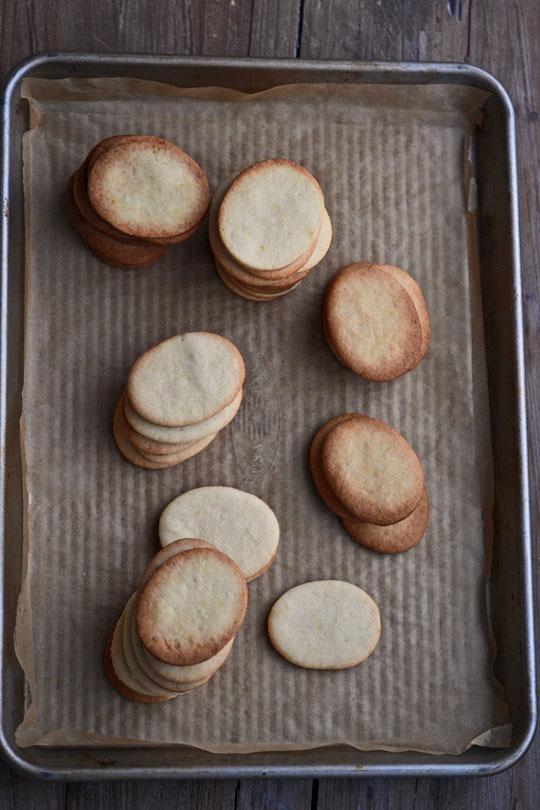 Vanilla Wafer Sandwich Cookies on brown surface