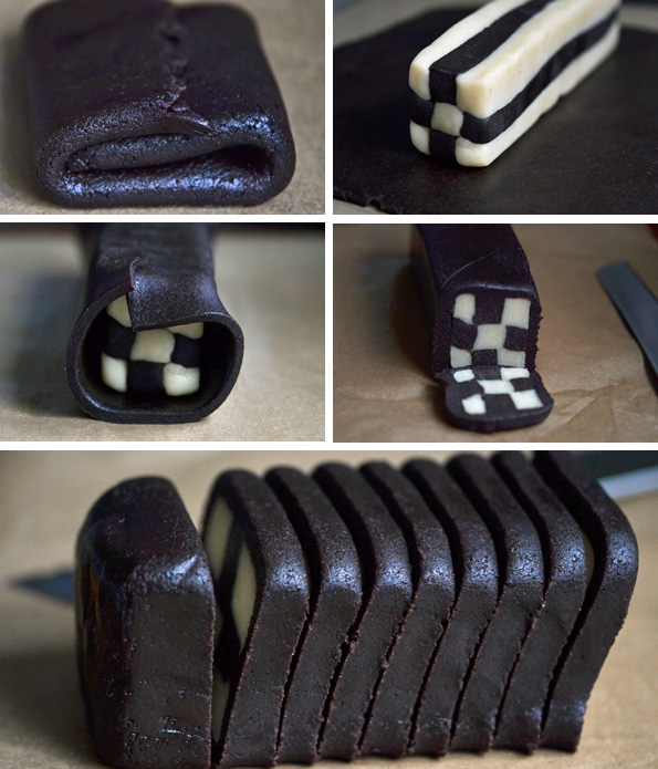 Checkerboard cookies dough