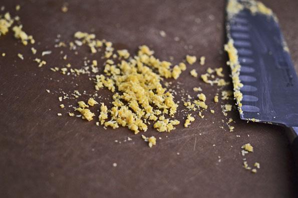 crumbs on cutting board