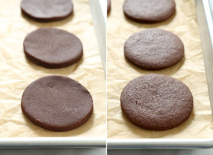 3 chocolate cutout cookie dough circles, and 3 chocolate cutout cookies on beige paper