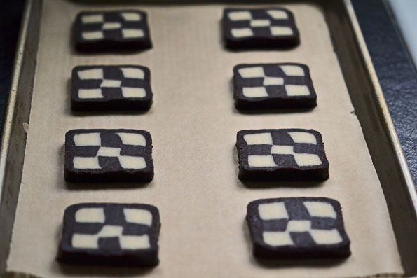 Checkerboard cookie dough in brown surafce