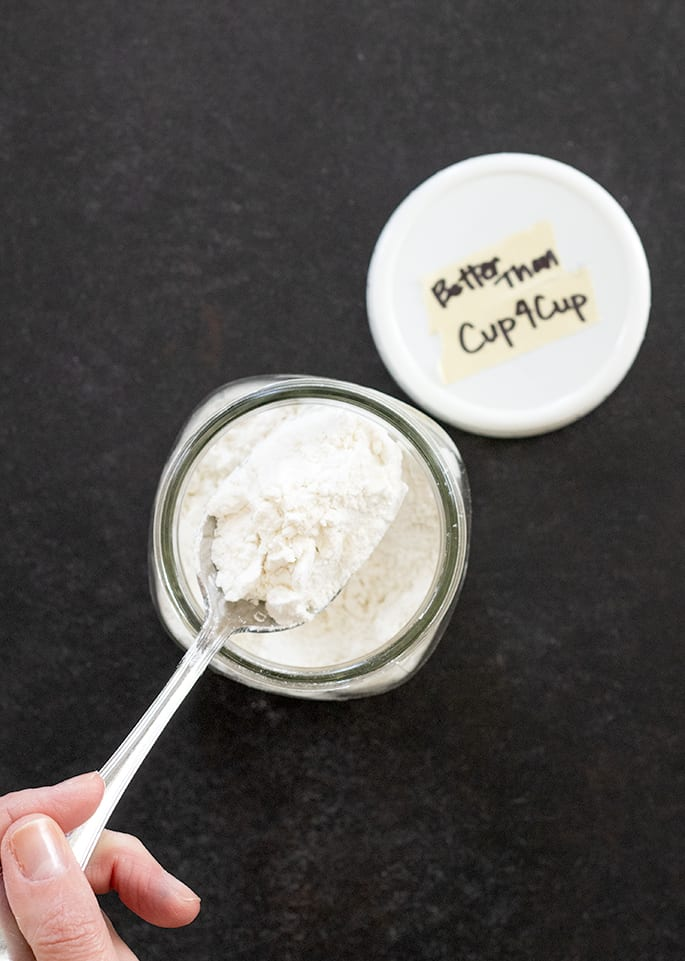 Overhead view of flour in a jar
