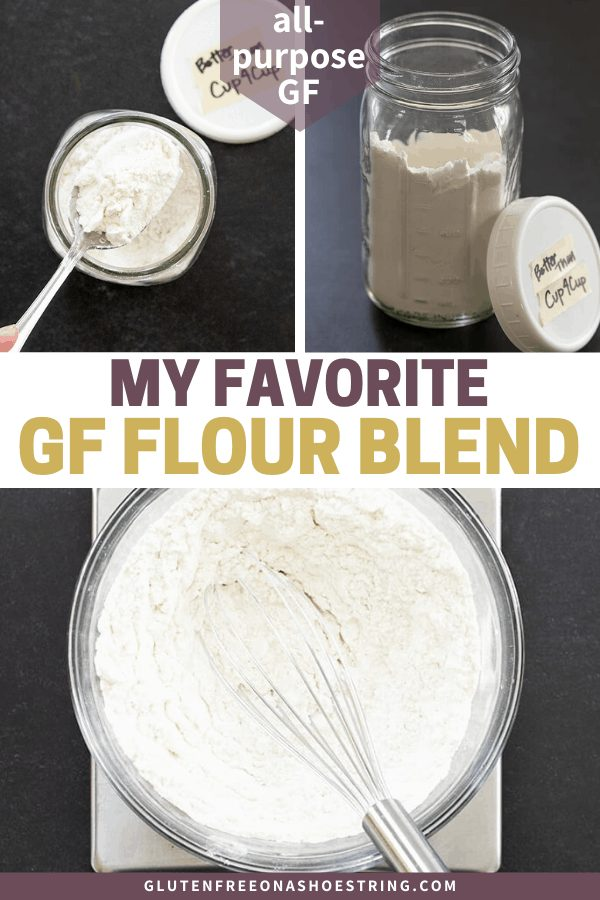 Image of my favorite all purpose gluten free flour blend with multiple images, meant for Pinterest