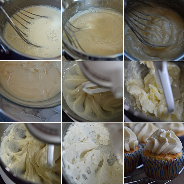 Overhead images of the steps to make ermine frosting