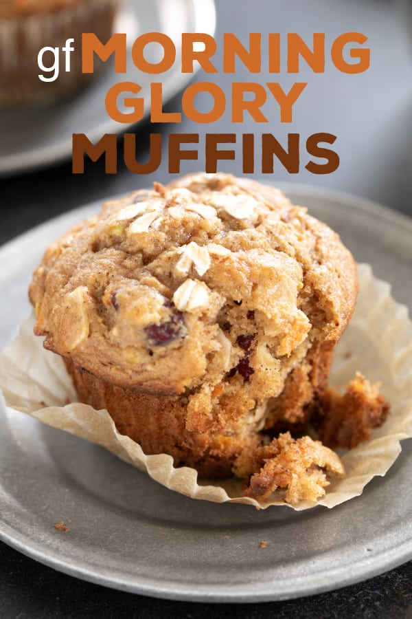 Lightly sweet gluten free morning glory muffins are packed with carrots, apples, coconut, and dried fruit. A super satisfying, healthy breakfast. #glutenfree #gf #muffins #breakfast
