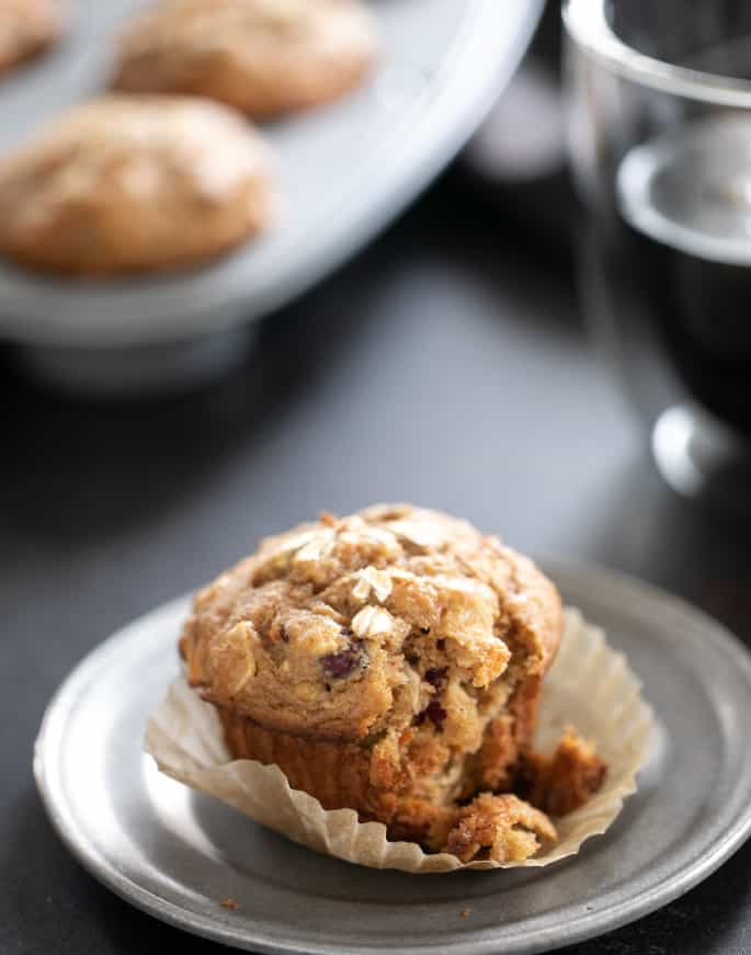 Lightly sweet gluten free morning glory muffins are packed with carrots, apples, coconut, and dried fruit. A super satisfying, healthy breakfast.
