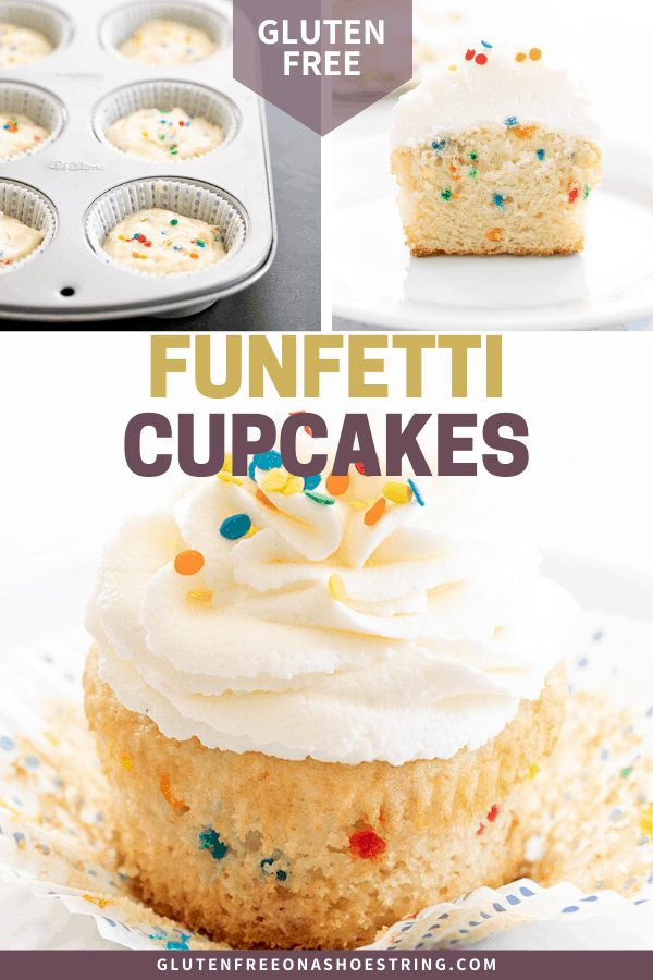 Gluten Free Funfetti Cupcakes raw in muffin tin, sliced in half, and whole with frosting