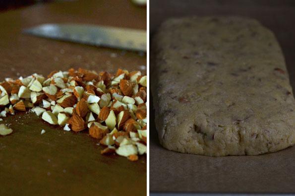 Nuts and raw biscotti