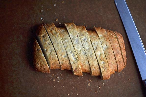 Cut up biscotti on cutting board