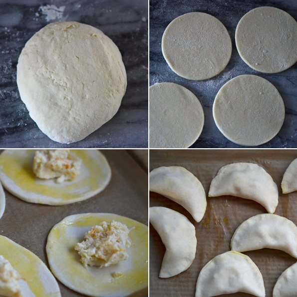 Pierogis being filled and shape