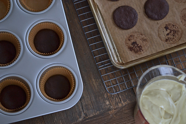 Thin Mint Cheesecakes being assembled in muffin tray
