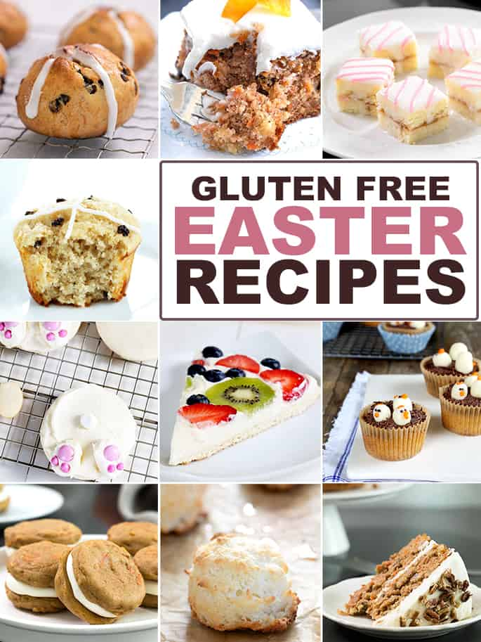 Words Gluten free Easter recipes with collage of images of 10 appropriate recipes