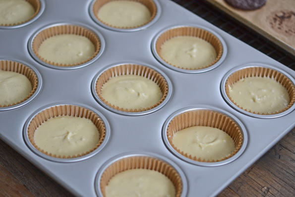 Thin Mint Cheesecakes in a muffin tray