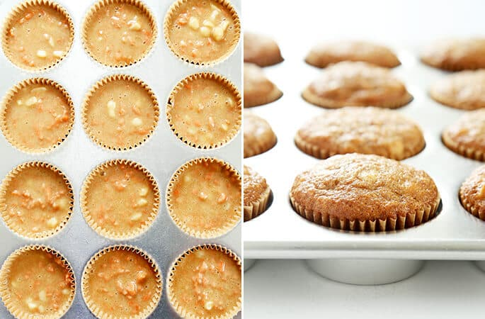 Raw and baked carrot cake cupcakes in muffin tins