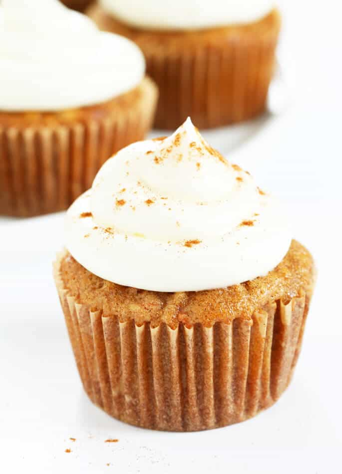 A carrot cake cupcake with frosting and ground cinnamon