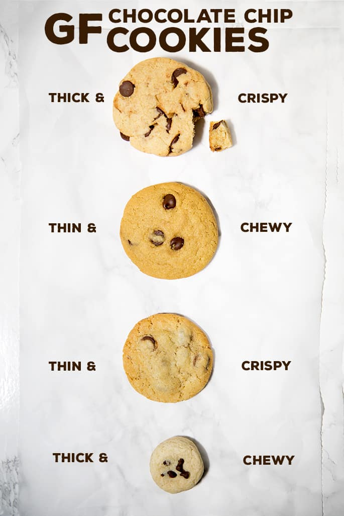 Birds eye view of 3 different chocolate chip cookies