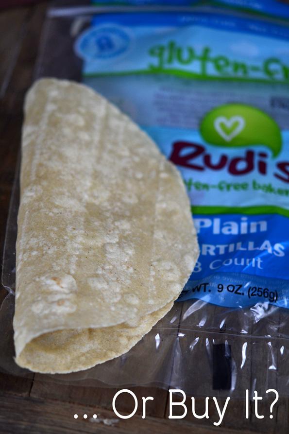 Tortilla on top of Rudis package