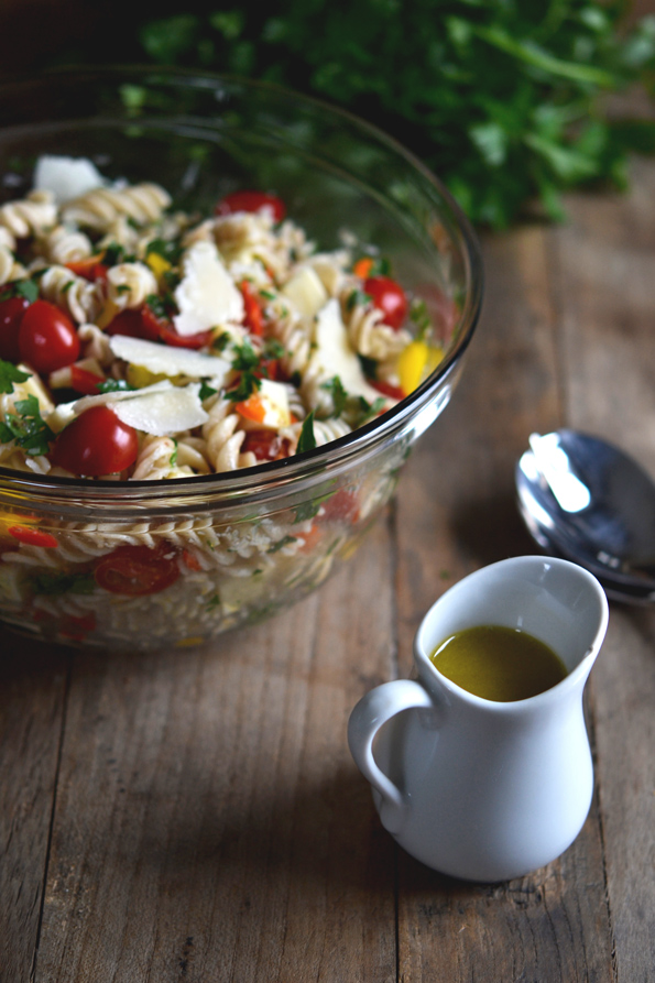 Gluten Free Pasta Salad with Roasted Shallot Vinaigrette