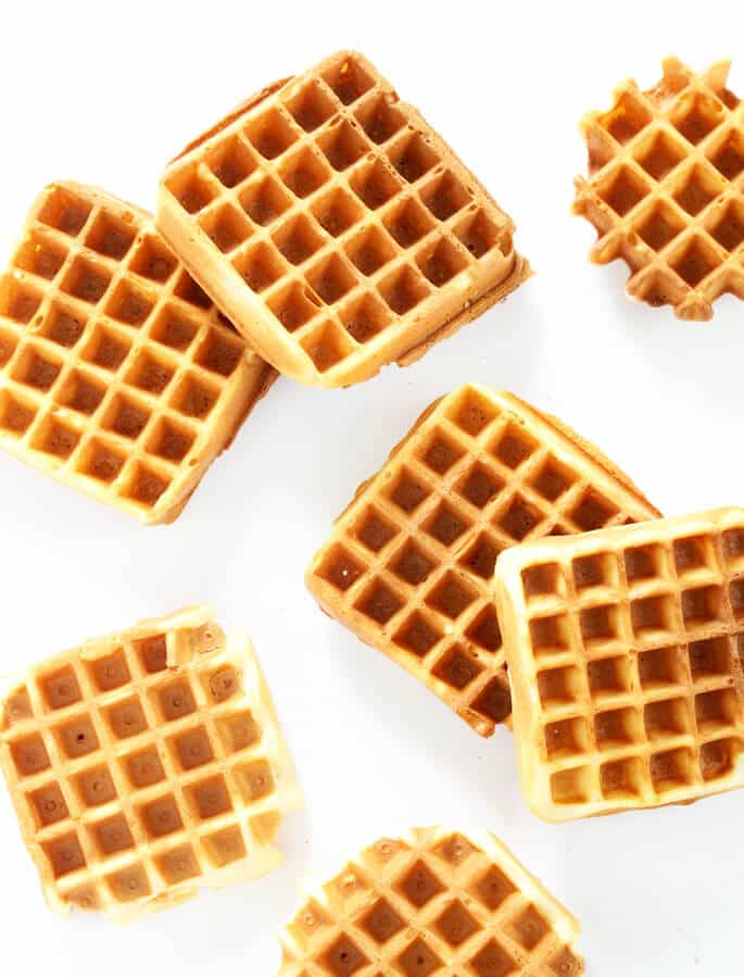 6 waffles on a white background