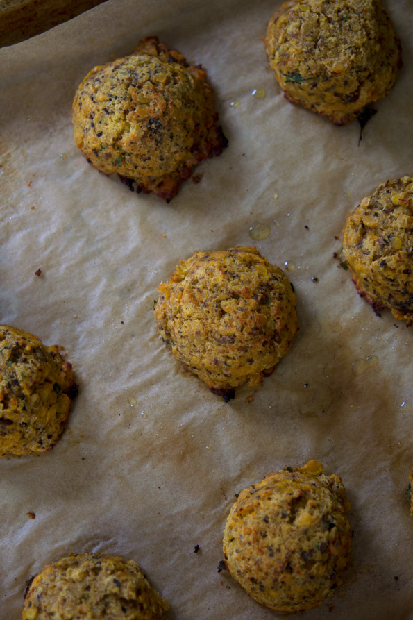 Gluten Free Vegetarian Meatballs (made with Red Lentils & Mushrooms)