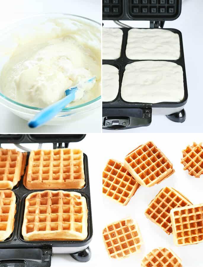 bowl of waffle batter, waffle batter in waffle maker, cooked waffles sin waffle maker, and 6 waffles on white background