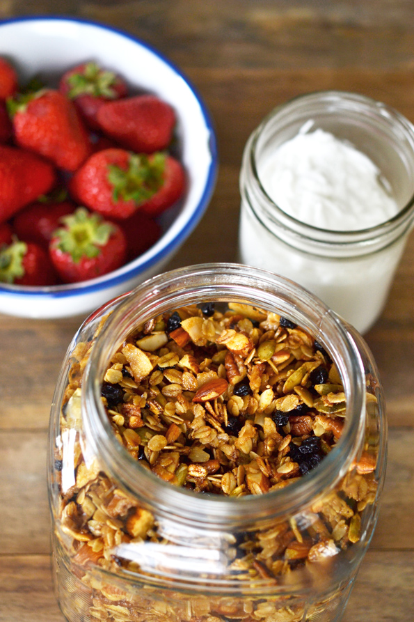 Overhead view of granola in a jar