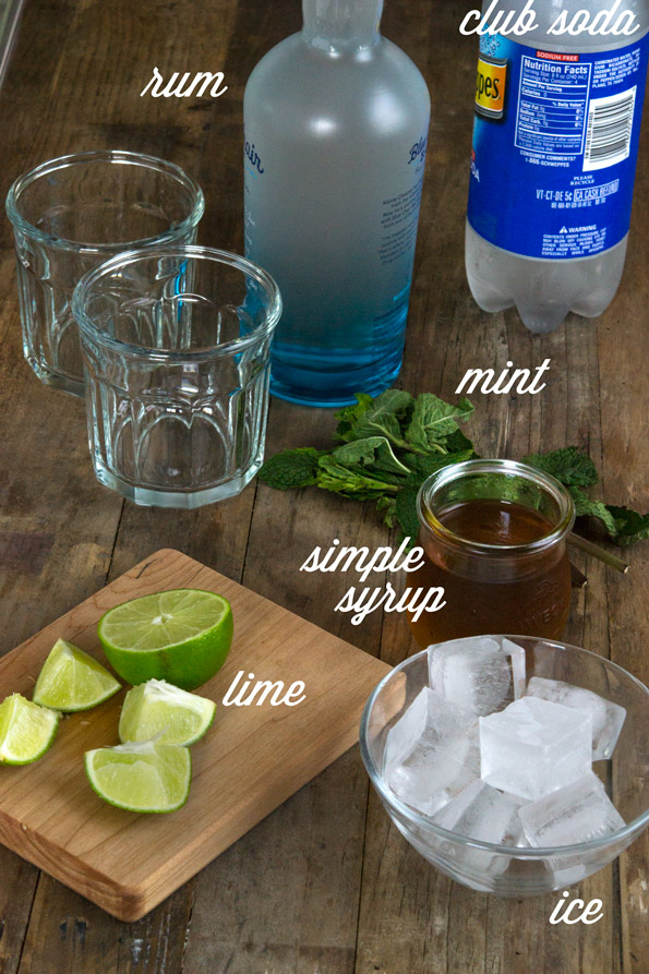 Ingredients for mojitos on wooden table