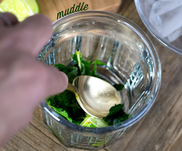 Mojitos being made in a jar