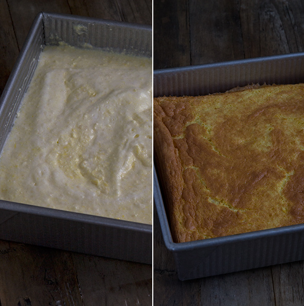 Corn torte before and after being cooked