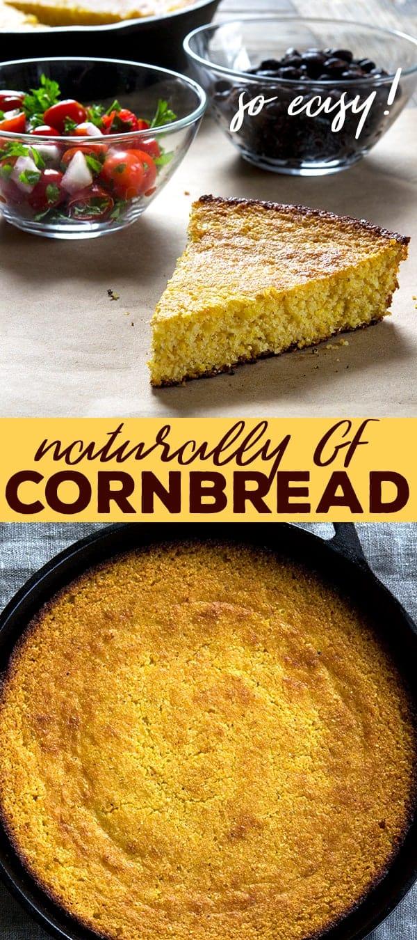 Gluten free cornbread in a skillet, whole, and a slice.
