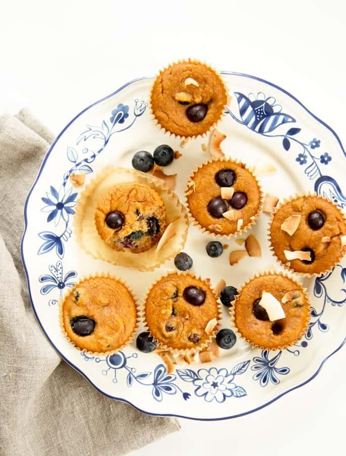 Paleo Coconut Flour Blueberry Muffins