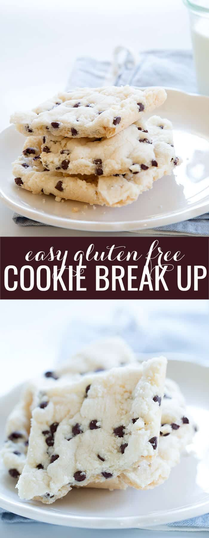 Side view of a stack of cookie break up in white plate and piece of cookie break up below