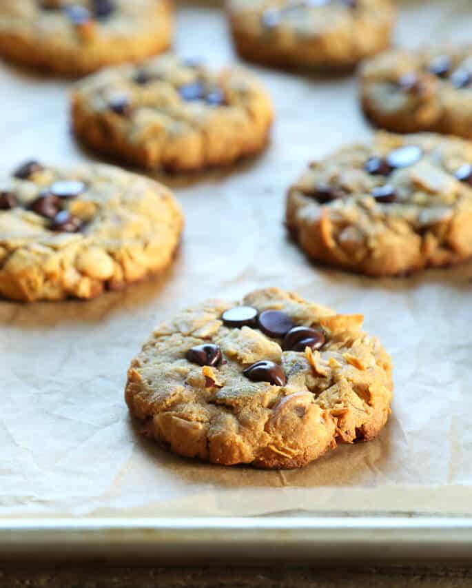 Multiple breakfast cookies on brown paper