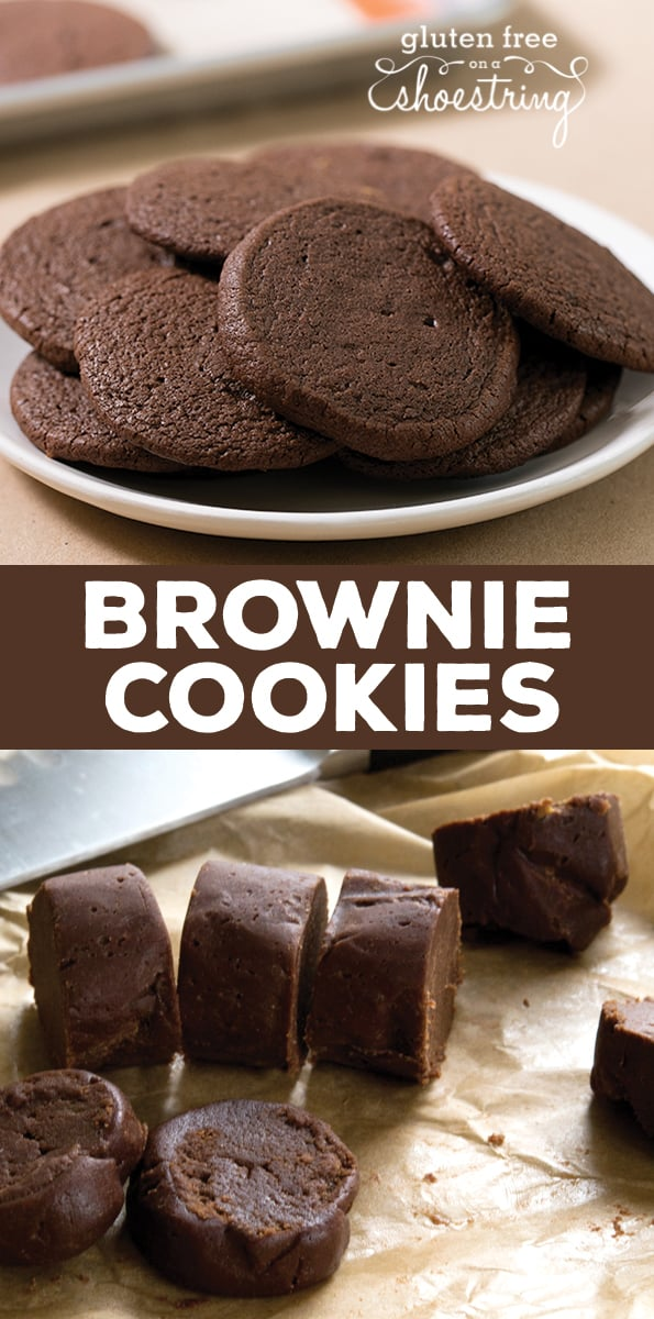 These gluten free brownie cookies have all the richness of brownies in a soft, chewy and tender cookie. They're made without chocolate chips because they don't need them! #glutenfreerecipes #glutenfreecookies #glutenfreeChristmas
